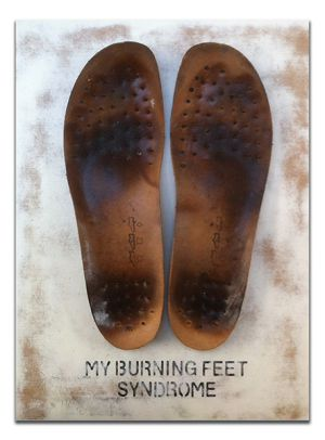 My Burning Feet Syndrome - leather, wood, paint